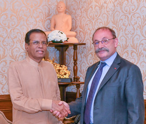 Mr Eric LAVERTU, Ambassador of France to Sri Lanka and the Maldives met with H.E. Mr Maithripala SIRISENA, President of the Democratic Socialist Republic of Sri Lanka - JPEG