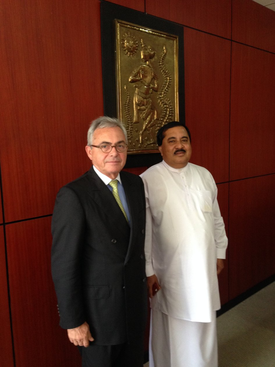 The Ambassador of France, Jean-Paul Monchau and Mr T.B. Ekanayake, Minister of Cultural and Artistic Affairs. - JPEG