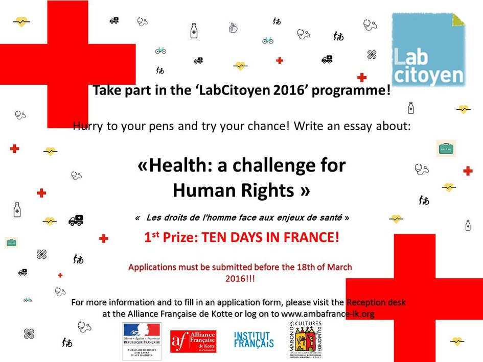 hurry to your pens th edition of the labcitoyen contest la  participants are invited to discuss in their essay the diversity of issues and challenges pertaining to health and its relationship human rights