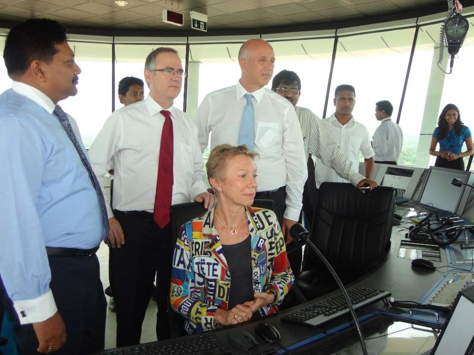 The three Heads of mission and Mr. Prasanna J Wickramasuriya, President of Airport and Aviation Services (Sri Lanka) Limited in the control tower at Mattala Airport - JPEG